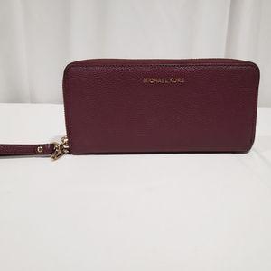Michael Kors Burgundy Red Leather Wristlet Wallet